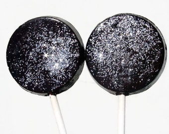 New Years Eve Favor Lollipops Black and Silver Wedding with Edible Glitter  6 Lollipop Pack Wedding Favors, Party Favors, Black Tie Event