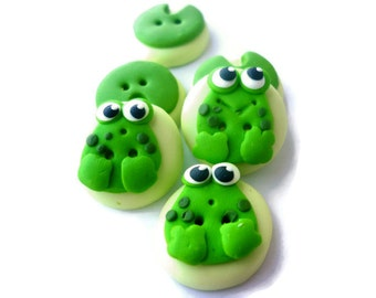 Frog buttons - cute frog and water lilies shaped buttons handmade with polymer clay