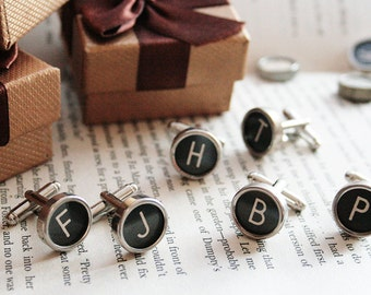 Cufflinks 4 SETS Typewriter keys Cuff Links, 4 Customized SETS All letters avaliable Personalized Groomsmen gift weddings mens accessories