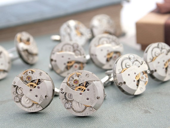 Weddings Cufflinks 5 SETS Groomsmen Gift Idea Steampunk Clock