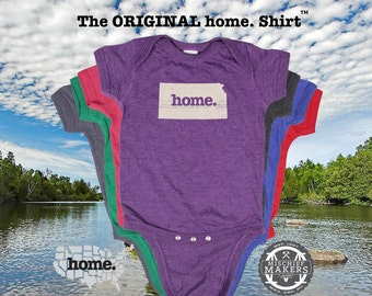 Kansas home Baby Bodysuit purple green pink denim blue green