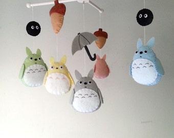 "Baby crib mobile, forest mobile, animal mobile , felt mobile ""My Neighbor Totoro 2"""
