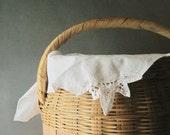 Large Wicker Basket ~ Vintage Storage Hamper ~ Basket & Lid ~  Woven Vintage Sewing Basket ~ Home Organizer / 0179