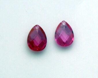 2 Cubic Zirconia Pear Shaped Pendants | Rose Pink Cubic Zirconia | 10 x 7 mm Pendant | Pink Pendant