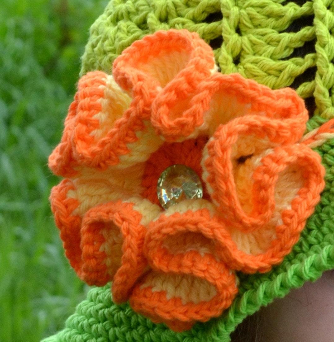 Large Crochet Flower Pattern For Headband : Flower Crochet Pattern Big Flower with Diamond Center