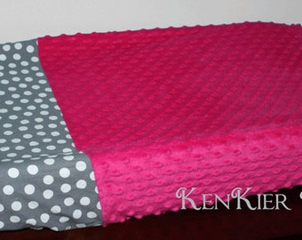 Custom Pink and Grey Changing Pad Cover