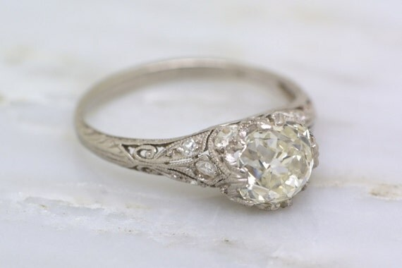 Reserved 1 88ct Antique Edwardian Engagement Ring Old Mine