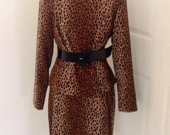 Vintage Leopard Print Suit 2 Piece 80s Structured Mod Pin Up