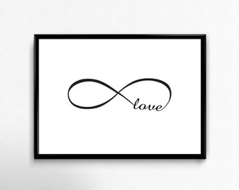 ENDLESS LOVE Art Printable - Printable File with Love Typography -  Art Print - Wall Art - Love Typography - Instant Download