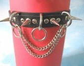 Leather Choker with Chain, SPikes & Rings 02