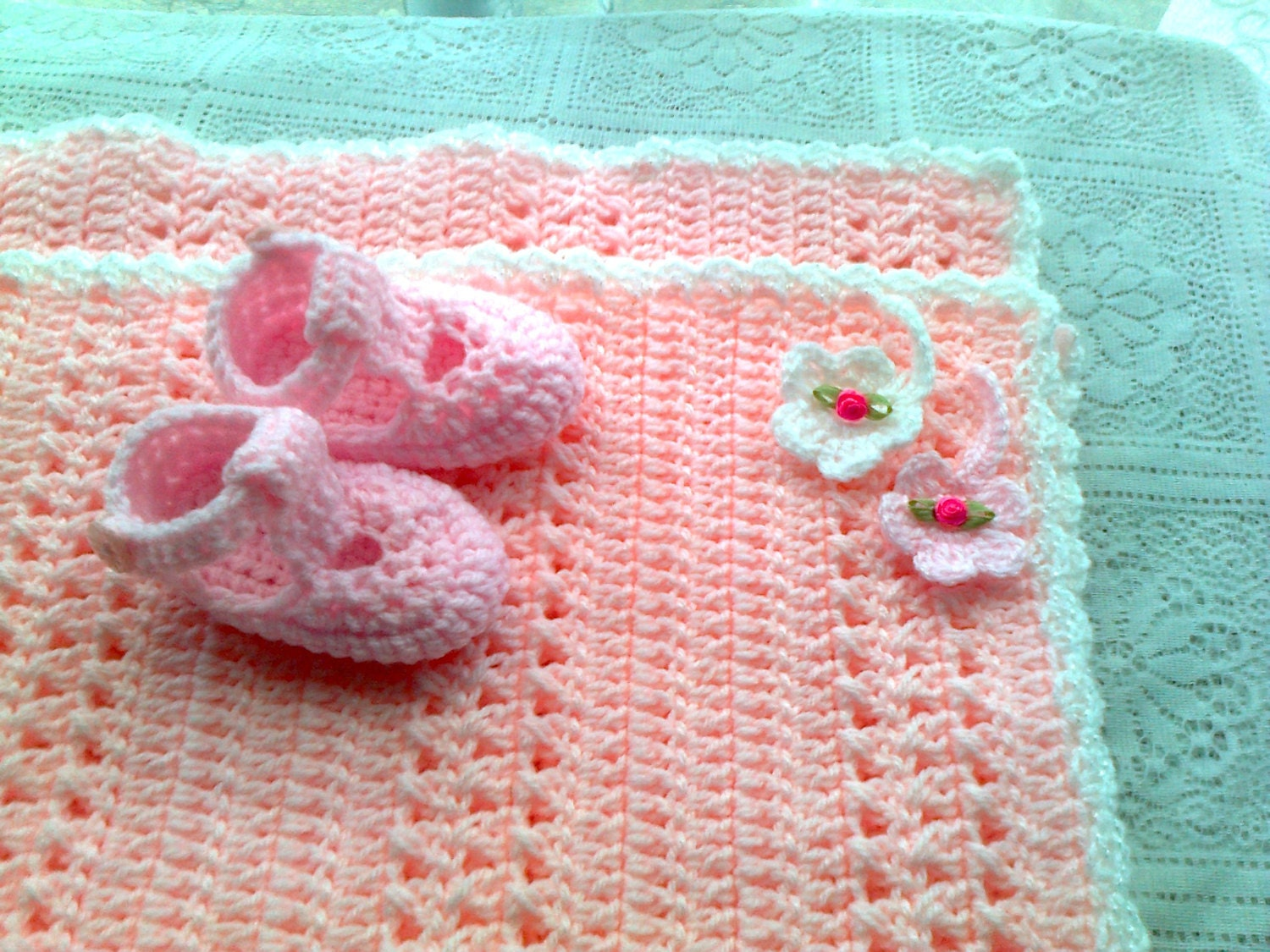 Crochet Baby Blanket Patterns Popcorn Stitch : PDF crochet baby pram blanket pattern