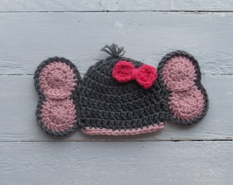 Elephant Hat / Baby Elephant Hat / Crochet Elephant Hat / Elephant Photo Prop / Crochet Baby Elephant Hat