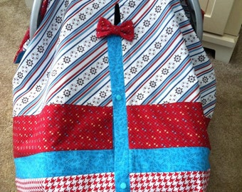 Car Seat Canopy / Tent / Nursing Cover / Blanket - Nautical with Houndstooth