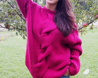 Handmade Over sized Sweater Dolman Sleeve Wool Sweater  with Braid & Nara PP005