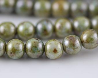 Luster Opaque Green : Czech Round Glass Druk Bead, 6mm (50)  (CR-6M-26)