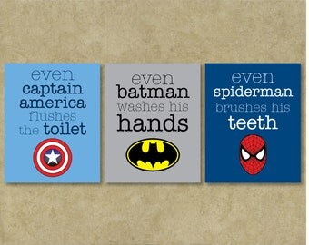 Superhero Wall Art / Typography / Art Prints / Bathroom / Art Prints / Custom / Set of 3 / Wall Decor / Art / Design