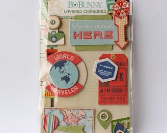 CLEARANCE! Bo Bunny Souvenir Layered Chipboard Stickers
