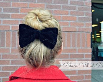Black Velvet Hair Bow