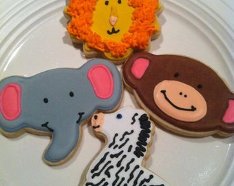 Zoo Animals custom decorated cookies - 1 Dozen
