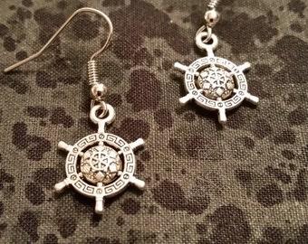 Ornate Helm (Ship's Wheel) Earrings