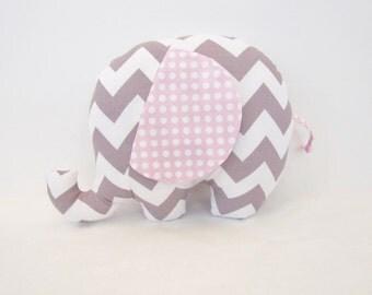 Grey Chevron and Pink Polka Dot Stuffed Elephant Baby Toy Pillow, Nursery Pillow Decor, Photography Prop