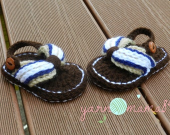 Crochet Photo Prop, Crochet Flip Flops, sporty baby boy newborn-12 months made to order SALE