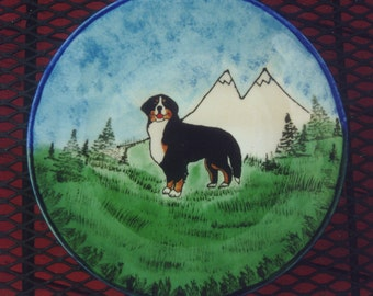 Hand glazed 10 inch plate with Bernese Mtn. Dog.