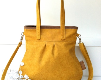 "Leather handbag , Leather Shoulder Bag "" SHELLY BAG "" SAFRAN , yellow"