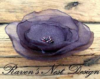 Fabric Flower Brooch -  Purple Flower Pin - Eggplant Flower Pin- Purple Wedding