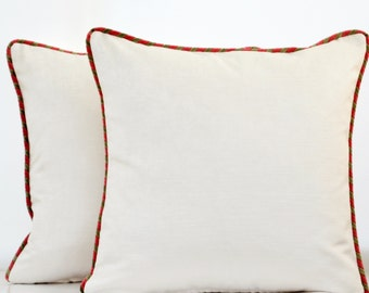 ON SALE ! White Velvet  Pillow Cover with Piping