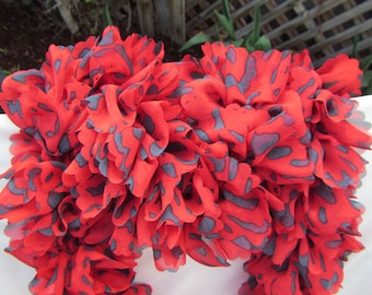 Red and Blue Leopard Fabric Ruffled Scarf - Red Heart Boutique Sassy Fabric - Red Leopard