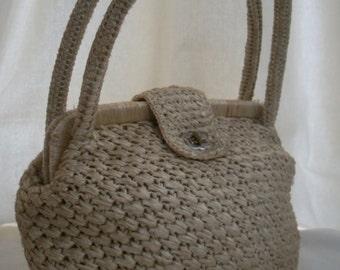 VINTAGE cream straw handbag