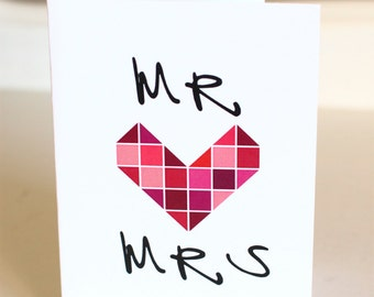 Mr *hearts* Mrs blank greeting card