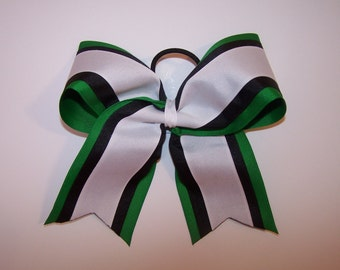Green, Black and White Grosgrain Bow Softball Bows Volleyball Bows Soccer Bows