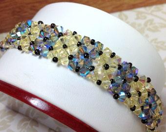 Swarovski Crystal Bracelet, Blue and Yellow Swarovski Crystal Bracelet