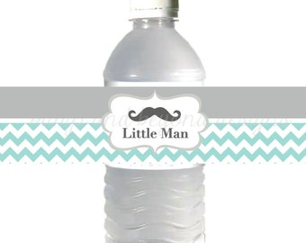 Mustache Water Bottle Labels Baby Shower Little Man DIY Bottle Labels Light Teal Grey Chevron INSTANT DOWNLOAD Printable Party Supplies 015