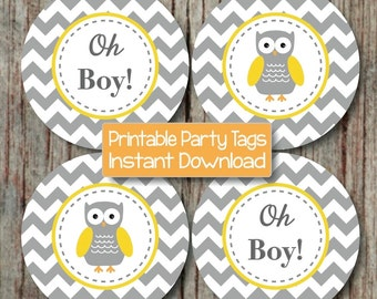 Yellow Grey Chevron Owl Baby Shower Decorations Cupcake Toppers Oh Boy! Printable Favor Tags Stickers INSTANT DOWNLOAD Baby Boy Party 130