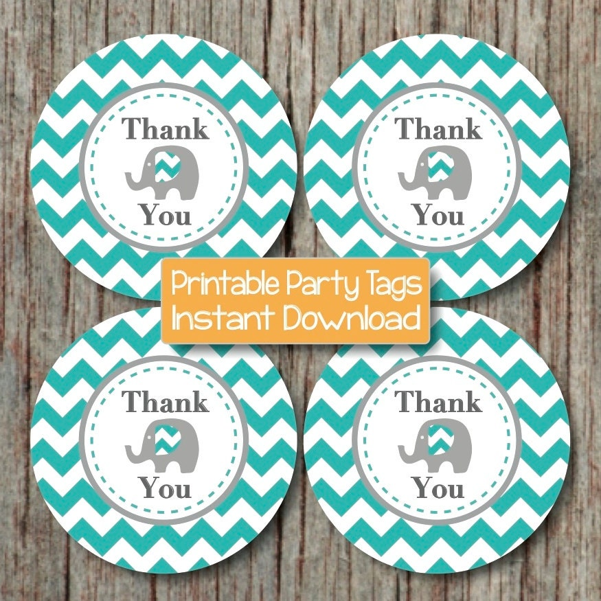 Aqua grey elephant printable thank you tags baby shower favor for Printable baby shower favor tags