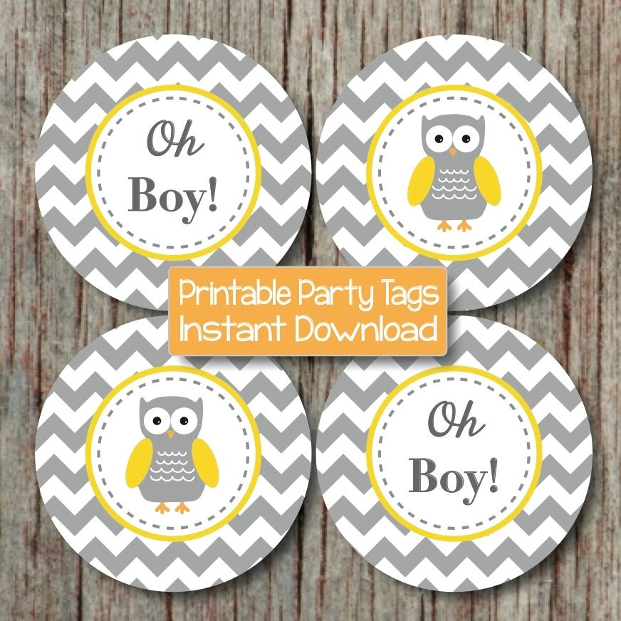 Yellow grey chevron owl baby shower decorations cupcake - Baby shower chevron decorations ...