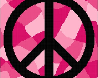 Pink Camouflage Peace Blanket Pattern