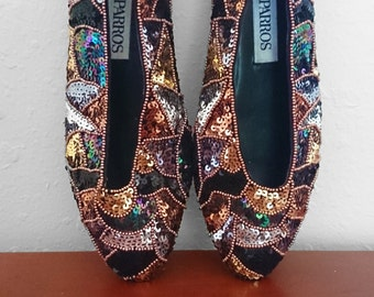 80s-90s Sequined Ballet Flats, by Caparros