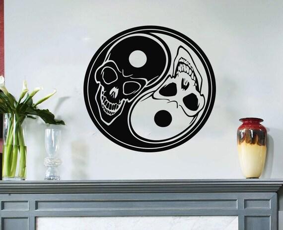 Items similar to housewares wall vinyl decal taoism for Meuble mural yin yang