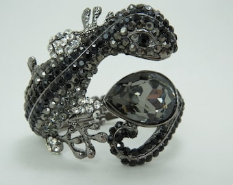Gun metal lizard bracelet cuff, unique