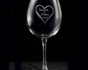 Engraved Wedding Gift, Heart Wine Glasses Personalized Red, Set of 2 (weddingheartred)