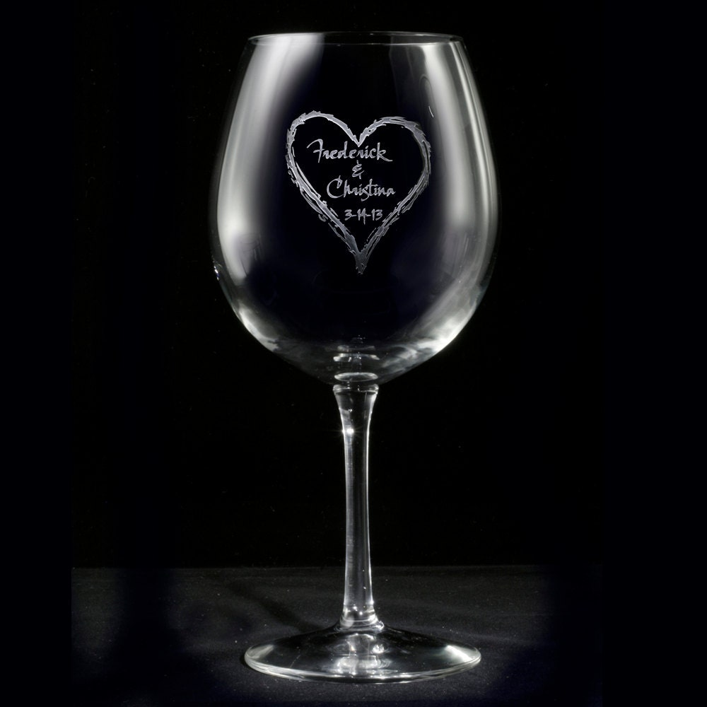 Engraved Wine Glasses For Wedding Gift : Engraved Wedding Gift Heart Wine Glasses Personalized Red