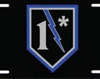 1* Blue Lightning Bolt Metal License Plate SKU: LP001-MTL