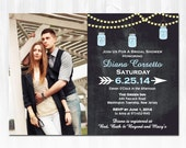 Chalkboard & String Lights Mason Jar Bridal Shower Invitation DIY PRINTABLE Digital File or Print (extra) Photo Bridal Shower Invitation