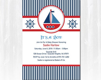 sailboat baby shower invitation diy printable digital file or print extra sail boat boy
