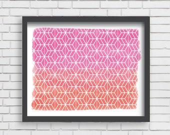 Geometric Watercolor Art Print Home Decor - Pink and Orange Watercolor Print - 8x10