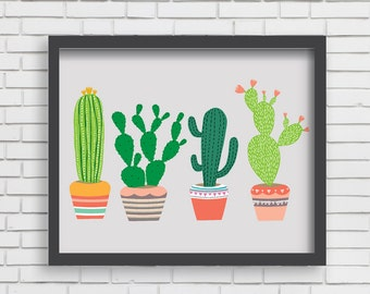 Southwest Cactus Art Print Home Decor Arizona Art - 4 Cactus Print - 8x10 or 11x14